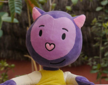 Launching soft toys for Misha, the Purple Cat